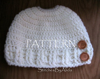 Crochet Messy Bun Hat Pattern, PDF, Instant Download, PonyTail Hat Crochet Pattern, PDF Easy Crochet Pattern,  Crochet Hat Pattern