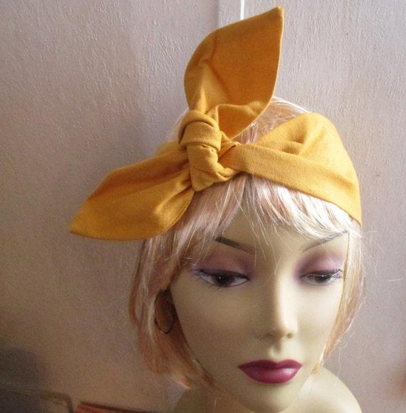 skinny headband bandana head scarf dolly bow hair yellow and black hair wrap