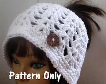 Messy Bun Hat Pattern, SUMMER and SPRING PonyTail Crochet Pattern, SUMMER Crochet  Pattern, Summer Ponytail Hat,