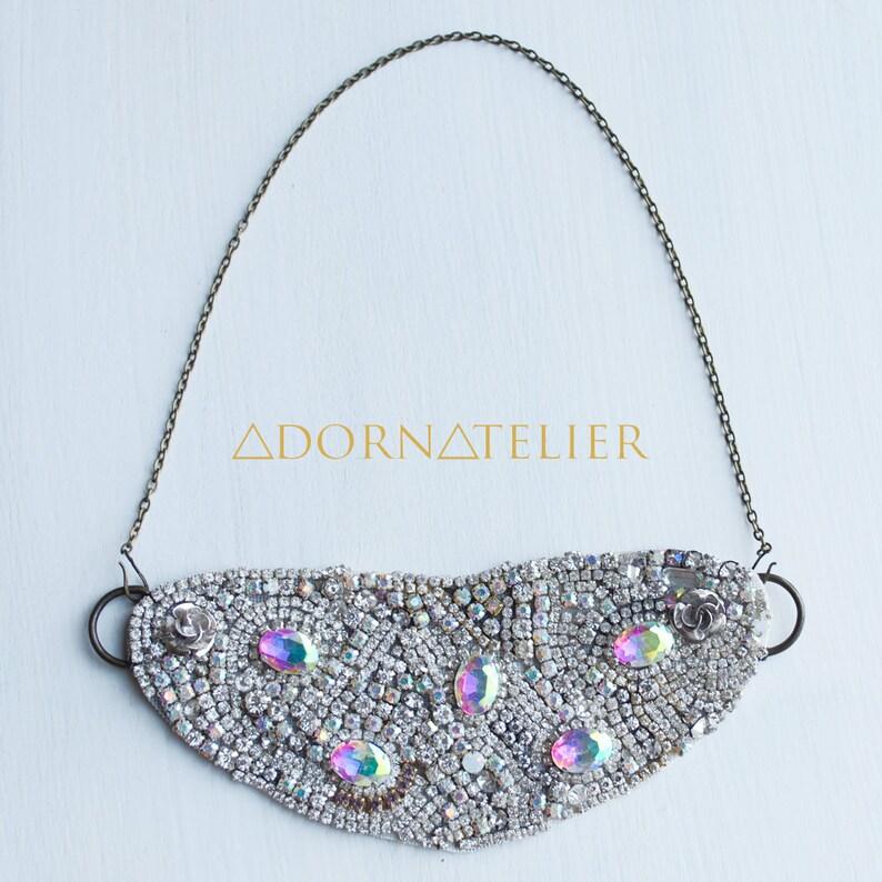 Elaborate Rhinestone Bib Collar Necklace