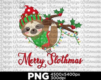 Merry Slothmas, Christmas Sloth, Christmas Vibes, Christmas Light, Christmas Holiday Gift Digital PNG oDm1
