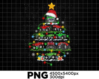 Digital Monster Truck Christmas Tree Light Xmas Hat In Snow PNG Download Sublimation dN5b