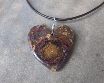 Earthy Boulder opal heart pendant necklace -  natural stone jewelry - handmade in Australia - unconditional love