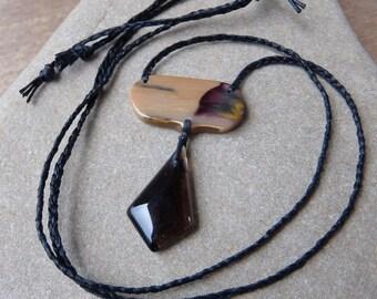 Unique Mookaite & Smoky Quartz necklace, natural stone jewelry handmade in Australia macrame jewellery adjustable - Naturesartmelbourne