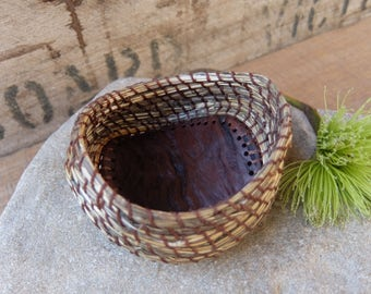 """Small basket hand woven from desert grass, eucalyptus wood, thread & the love for the land - """"being mindful"""""""