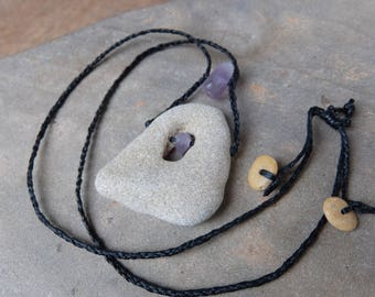 Hag stone, Amethyst jewelry - wishing stone necklace -  beach pebble with natural hole, natural crystal -  handmade in Australia