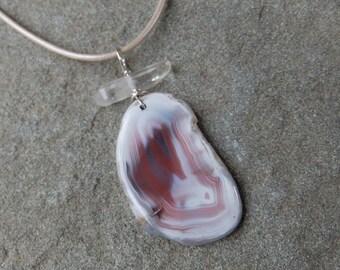 Agate, Quartz crystal pendant necklace, healing jewellery handmade in Australia - unique gem stone jewelry pink white, naturesartmelbourne
