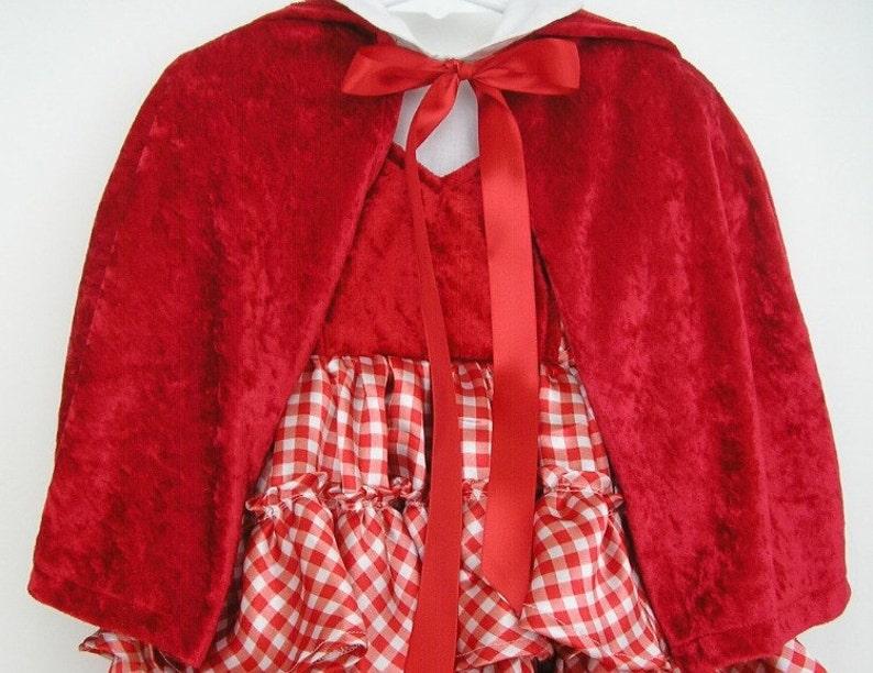 Toddler Crushed Panne Velvet Little Red Riding Hood Capelet 12 Inch Length