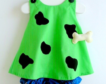Baby and Toddler Green Pebbles Flintstone Costume Free Domestic Priority Shipping