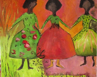 Chants De Couleurs :   Figurativ painting people oil painting knife on linen canvas
