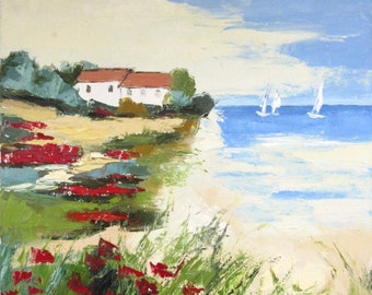 Entre Terre Et Mer: Original marine painting - oil with a knife on stretcher on linen canvas ..