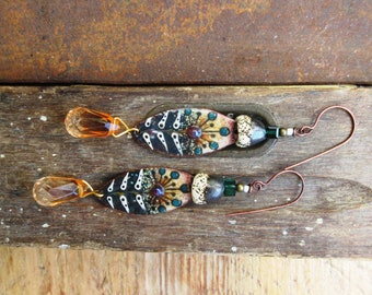 Nostalgia Of Aurora !!!:  Contemporary bohemian earrings with charms handcrafted enamel