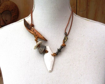 """An African-style unisex tribal necklace with old collection beads in horn, Senegal shell: """"Territory Of Our Memories"""" ...."""
