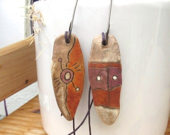 Scents of Africa: African-style earrings with ceramic ethnic shields ...