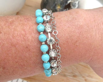 Morning Turquoise: a bracelet 3 rows chic and bohemian with turquoise and strass ...