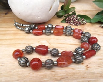 Echoes Of The Sacred Land: a long necklace, long, ethnic and unisex with old carnelian beads ...
