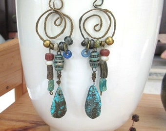 """Creole style earrings with tears in turquoise: """"Light and Azure"""" .."""