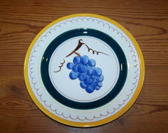 Stangl Pottery, Grape Plate, Stangl Fruit, Salad Plate, Terra Rosa, Pottery Plate, Blue Yellow, Fruit Pattern, Vintage
