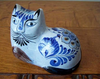 Blue Tonala Cat, Folk Art, Blue Pottery Cat, Mexican Pottery, Cat Sculpture, Stoneware Cat, Cat Figurine, Art Pottery, Reclining Cat, Sl