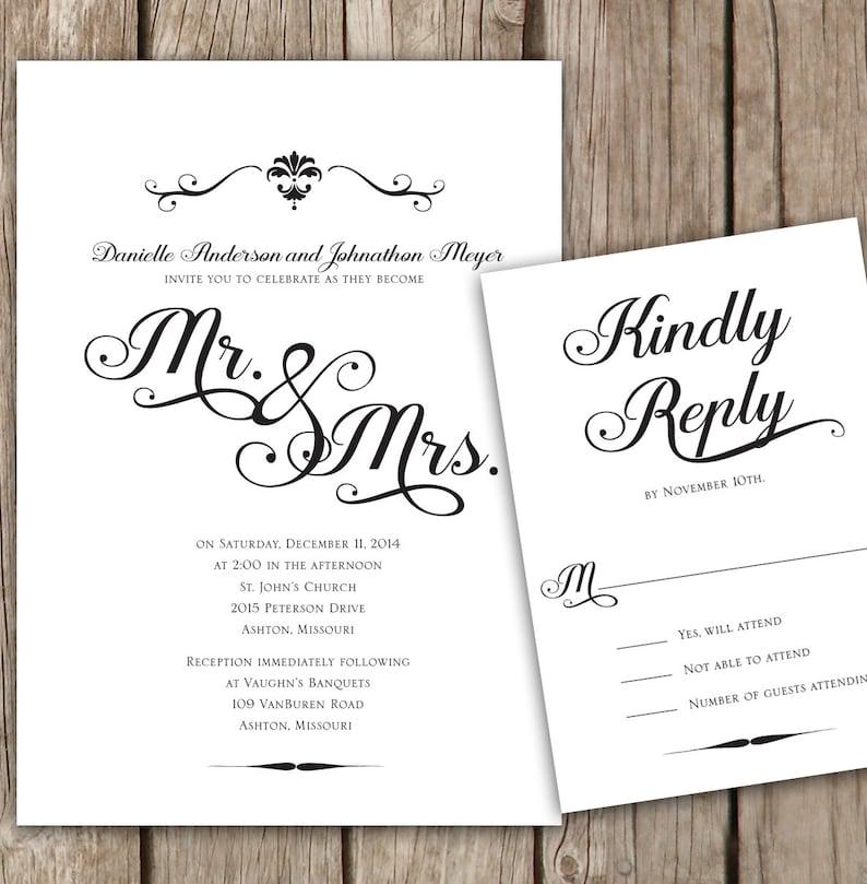 Black and White Wedding invitation, Elegant Script Wedding Invitation, Mr   and Mrs  Wedding Invitation, Script simple wedding invitation
