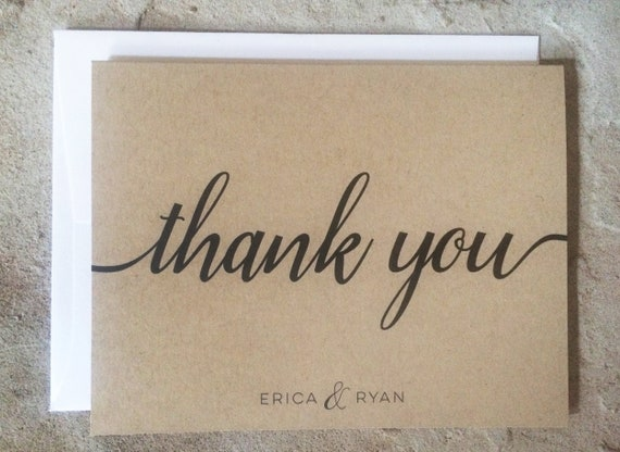 Personalized Thank You Cards Wedding Thank You Notes Kraft Thank Yous Set Of 10