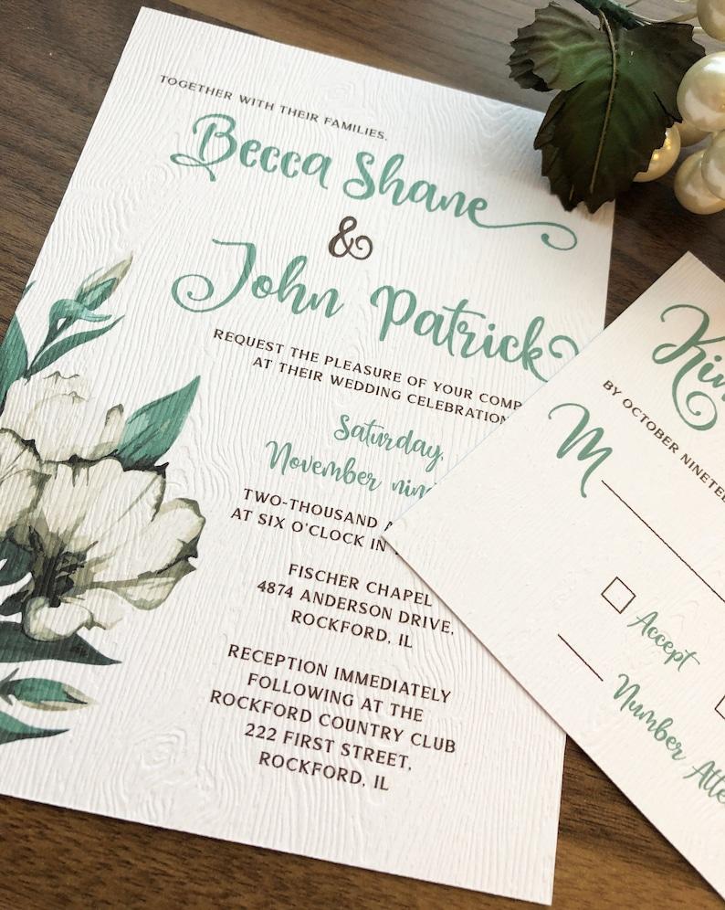 Image 0: Seaform Green And Purple Wedding Invitations At Reisefeber.org