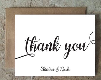 Personalized Thank You Cards whimsical - Wedding Thank You Notes - Black and White Thank Yous - set of 10+