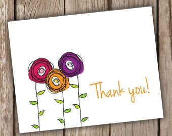 Whimsical Flower Thank you Note Cards - Thank You Note Cards - Floral Note Cards - Thank You Notes - Set of 10