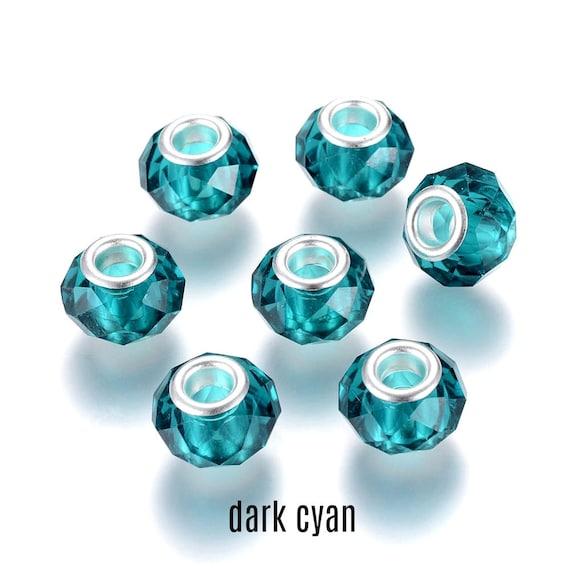 10pcs Resin Deep Pink Pattern Charm Rondelle Big Hole Beads European Bracelet