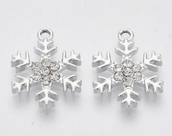Beautiful rhinestone snowflake charm Christmas, winter theme  platinum finish, choose set of 2 or 4 charms use for jewelry, trinket