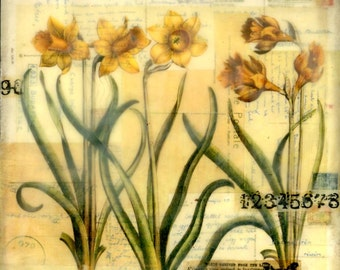 Encaustic art beeswax collage yellow flowers