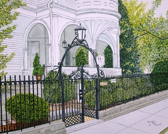 A Place Where Time Stands Still Two Meeting Street Charleston SC Original Watercolor by Michael Joe Moore