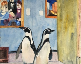 Two Penguins Roaming the Museum