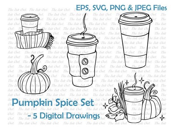 Pumpkin Spice Line Drawing Theme Set Pumpkin Coffee Scarf Etsy