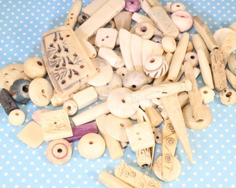 Hand Carved Bone Beads - 6 Ounces - Jewelry Supplies BULK Beads Tubes Round Beads Geometric Shapes Tribal Off White Chunky Beads Varied