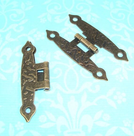 20pcs 20x17mm Laiton Antique Papillon Boîte à bijoux charnière petites Charnières avec Vis