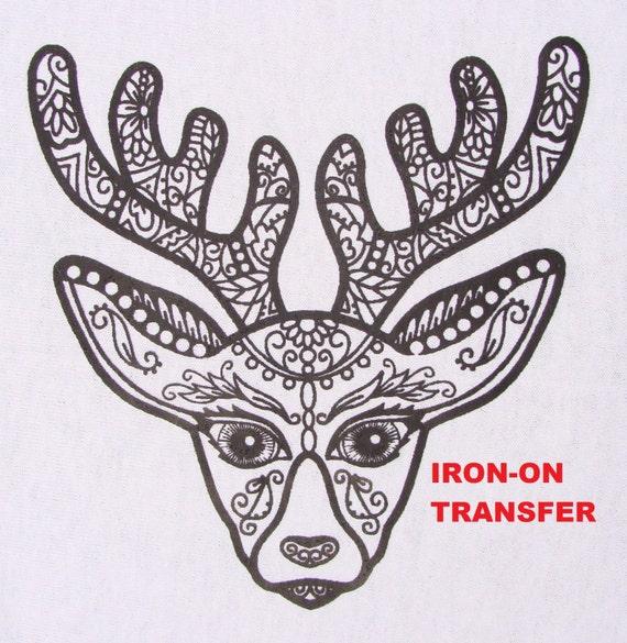 Los ciervos transferencia hierro en calor prensa Reno DIY para   Etsy