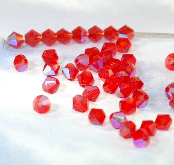 Red and Orangish Red Round and Bicone Beads New Red Black and White Dice Beads