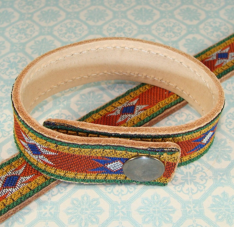 Stud Decorate or Wear as is Leather Bracelets Rust Aztec Ribbon Cuffs 2 or 4 Pieces 58 Inch Wide Adjustable w Snaps Jewelry Supplies