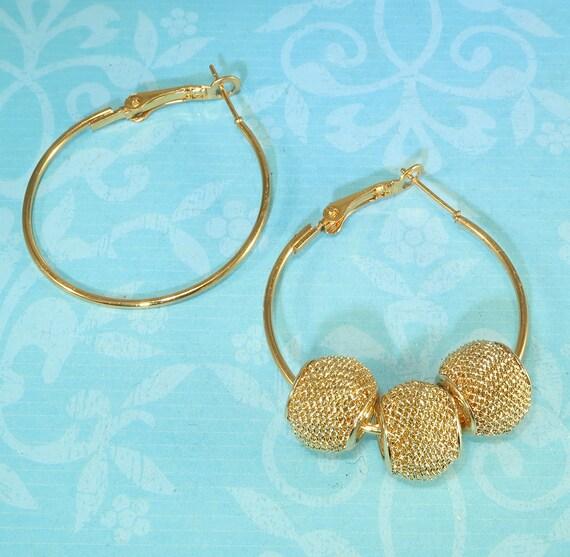 1.5 Inch Jewelry Supplies Findings Use w Rhinestone Beads Spacers Discs Spikes 6 Medium Hoop Earrings 35mm Gold Hinged 3 Pair 42407