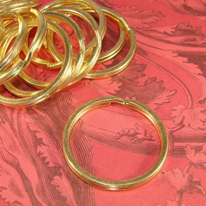 15 Gold Key Rings 35mm Split Rings Brass Plated Steel Jump Rings Bulk Findings Jewelry Supplies Keyring Connector Gold Metal Hardware 35Gld