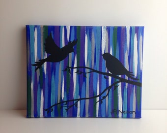 Birds on a Branch One in Flight Colorful Bird Art Original 8 x 10 Painting