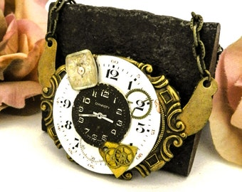 Steampunk Watch Dial Assemblage Necklace, Mixed Vintage Parts Brass Pendant, Gear Watch Art Gift for Her, Upcycled Victorian Cosplay Jewelry