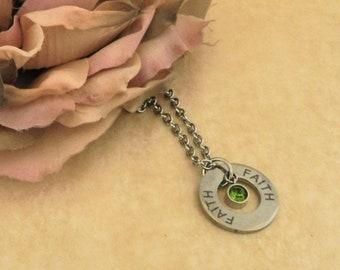 Faith Necklace for Women, Inspirational Religous Gift for Friends, August Birthstone Pendant for Teen Girls, StepMom Women Teenage Daughter