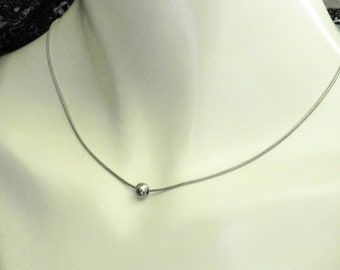 Simple Single Bead Necklace, Minimalist Floating Bead Stainless Steel, Gift for Girlfriend, 11th Anniversary Present for Wife Life Partner