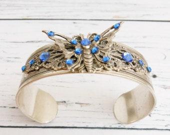 Blue Sapphire Butterfly Bracelet, Adjustable Embossed Silver Cuff, Art Deco Style, Unique Womens Gift, Handmade Rhinestone Jewelery