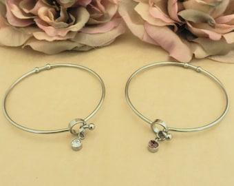 Crystal Rhinestone Charm Bracelet, Minimalist Bangle Wristband, Unique Womens Bracelet, Gift for Female, Wedding Present from Groom to Bride