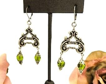 Olive Green Bead Earrings, Edwardian Style Earrings for Her, Unique Gift for Women, Girlfriend Anniversary Gift, Heart Shaped Earrings