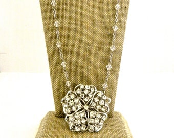 Rhinestone Necklace and Earrings Swarovski Crystal, Old Hollywood Inspired Wedding Set, Upcycled Vintage Brooch Unique Jewelry for Women
