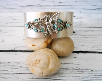 Silver Butterfly Cuff for Women, Aquamarine Art Deco Adjustable Wristband, Unique Bracelets for Summer, March Birthstone Gift for Her